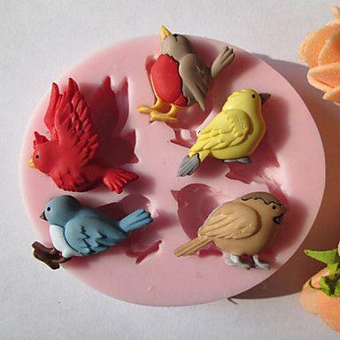 Cinco pájaros del silicón del chocolate / moho Fondant / Azúcar - USD $ 1.99