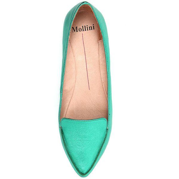 Mollini Gyro Emerald Metallic ($110) ❤ liked on Polyvore featuring shoes, flats, ballet pumps, metallic ballet flats, ballet flat shoes, flat shoes and pointed toe flats