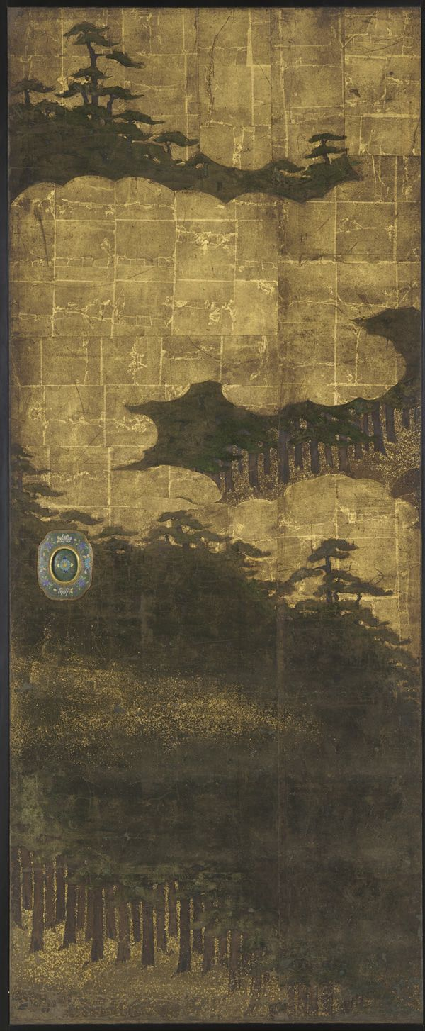 Pine trees, water and clouds  17th century  Edo period