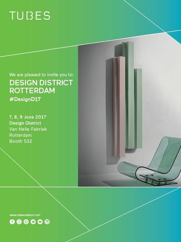 From 7 to 9 June, Tubes is partecipating to Design District 2017, at the Van Nelle Fabriek in Rotterdam, the best trade event for interior design in the Netherlands.   We will be pleased to welcome you at our Booth S32!  Get the free entrance clicking on this link: https://registration.n200.com/survey/020eddihxzsq8?actioncode=NTWO000076CXF&partner-contact=1fo9rbqgt64s1   #Tubesradiatori http://www.designdistrict.nl/?lang=en
