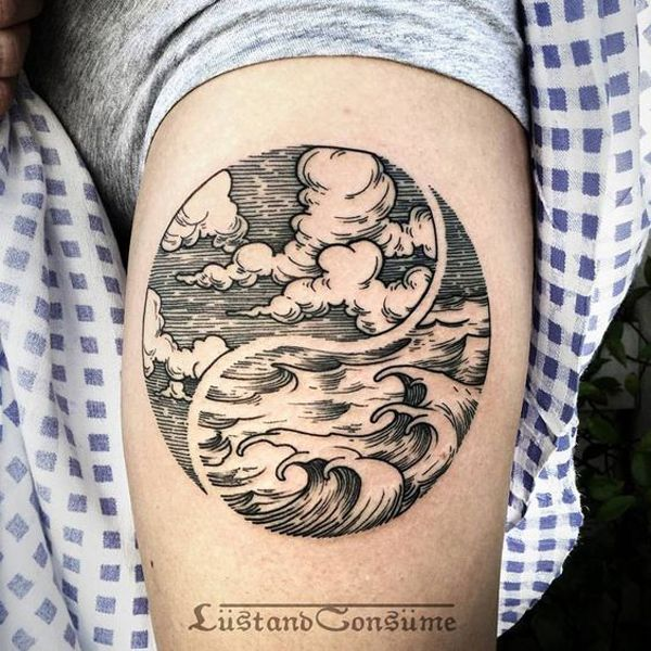 A very artsy depiction of the Yin Yang tattoo. It shows the sky and the water…