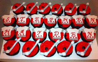 Hockey themed cupcakes I made for twin's birthday party!