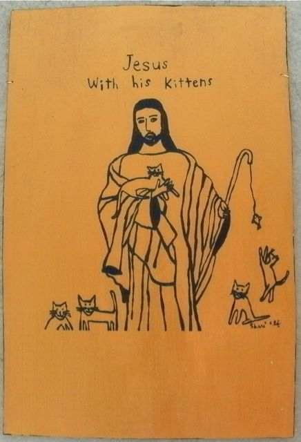 jesus with his kittens