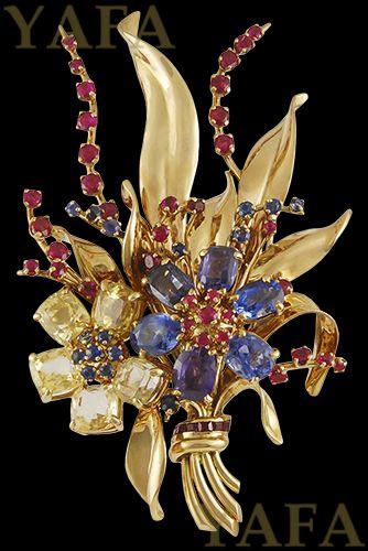 VAN CLEEF & ARPELS Retro Gem Set Gold Bouquet Brooch - Yafa Jewelry