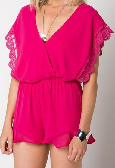 Lace Romper in pink with open back from Colors of Aurora!