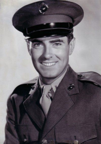Tyrone Power (1914-1958) Lieut., U.S. Marine Corps, WW II. He served with great distinction as a USMC pilot, flying cargo planes of supplies all over the Pacific Theater and wounded Marines out of Iwo Jima and Okinawa. He returned stateside Nov 1945 and was released from active duty in Jan 1946. He was promoted to captain in the reserves on May 8, 1951. Honors: American Campaign Medal, the Asiatic-Pacific Campaign Medal with two bronze stars, and the World War II Victory Medal.