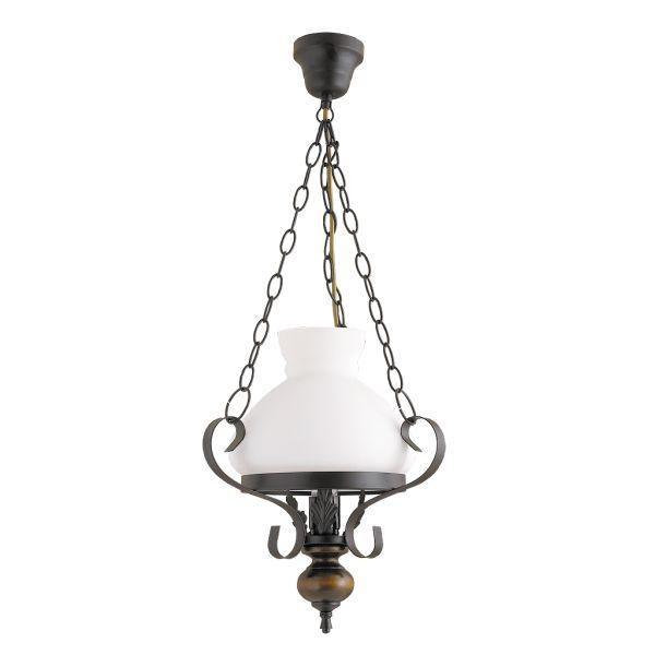 Rustykalna LAMPA wisząca PETRONEL 7076 Rabalux stylizowany zwis OPRAWA orzech biała