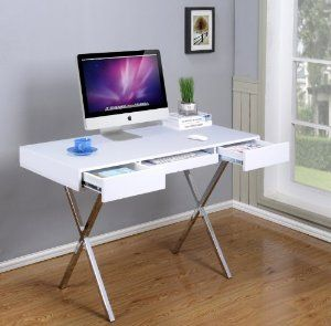 Amazon.com: Kings Brand Furniture Contemporary Style Home & Office Desk, White/Chrome: Kitchen & Dining