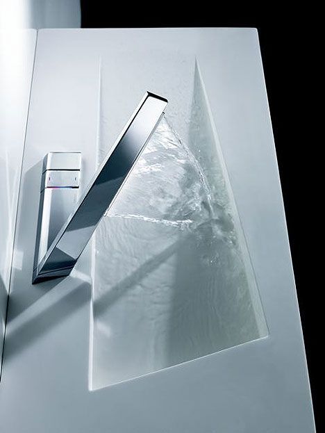 Hansa Latrava faucet from Octopus Design which treats the shape of the water flow as a continuation of the hardware.