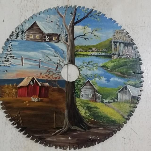 Saw Blade Fan : For sale seasons hand painted circular saw blade