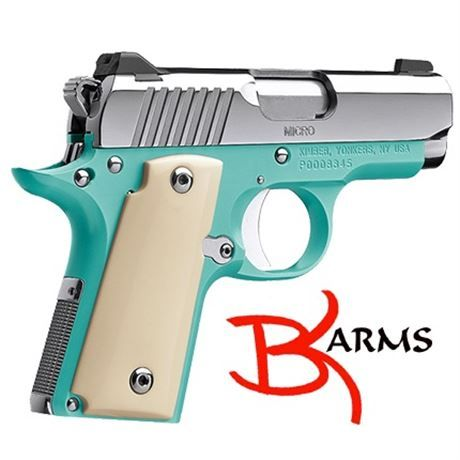 FREE SHIPPING to CONUS! Featuring the Bel Air blue finish on the frame, a mirror polished slide and small parts, and all topped off with beautiful Ivory Micarta grips. Specifications: Product #: 3300110. Height (inches) 90° to barrel: 4.07. Weight (ounces) with empty magazine: 15.6. Length (inches): 6.1. Magazine capacity: 6. Recoil spring (pounds): 16.0. Full-length guide rod. Caliber- 9mm. Frame: Material: Aluminum. Finish: Bel Air Blue. Mirror-polished small parts. Width (inches): 1.06…