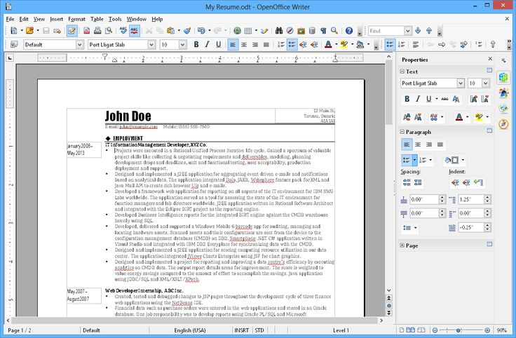 Apache OpenOffice 413 Free alternative for Office productivity - open office resume