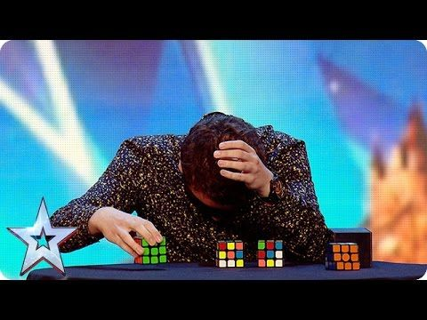 Watch Flavian solve three Rubik's Cubes…BLINDFOLDED! | Britain's Got More Talent 2016 - YouTube