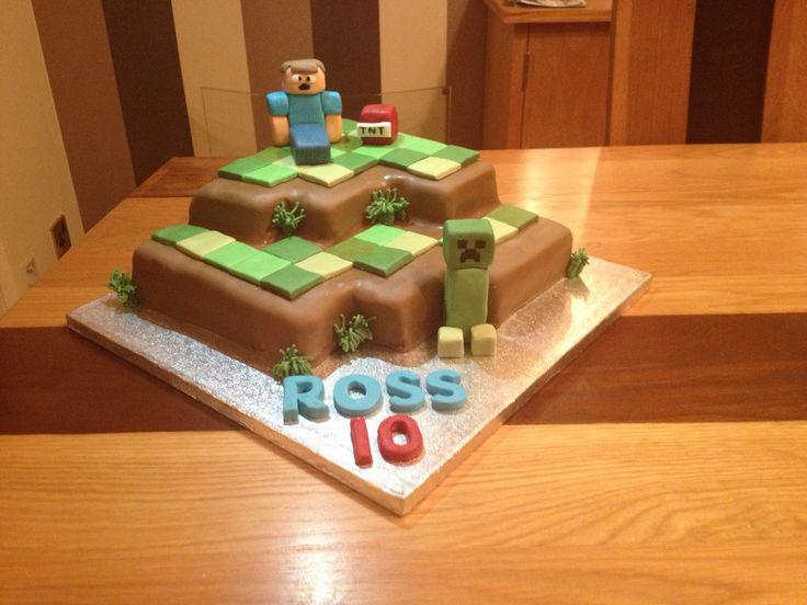 Mine craft cake. Chocolate sponge and buttercream with fondant figures.