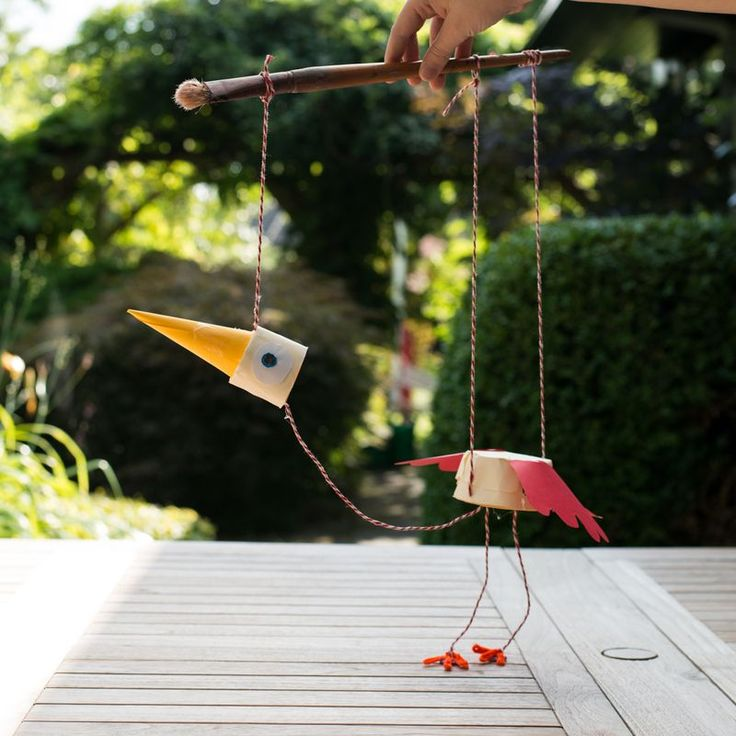 Hjemmelavet marionetdukke fugl (Badut)