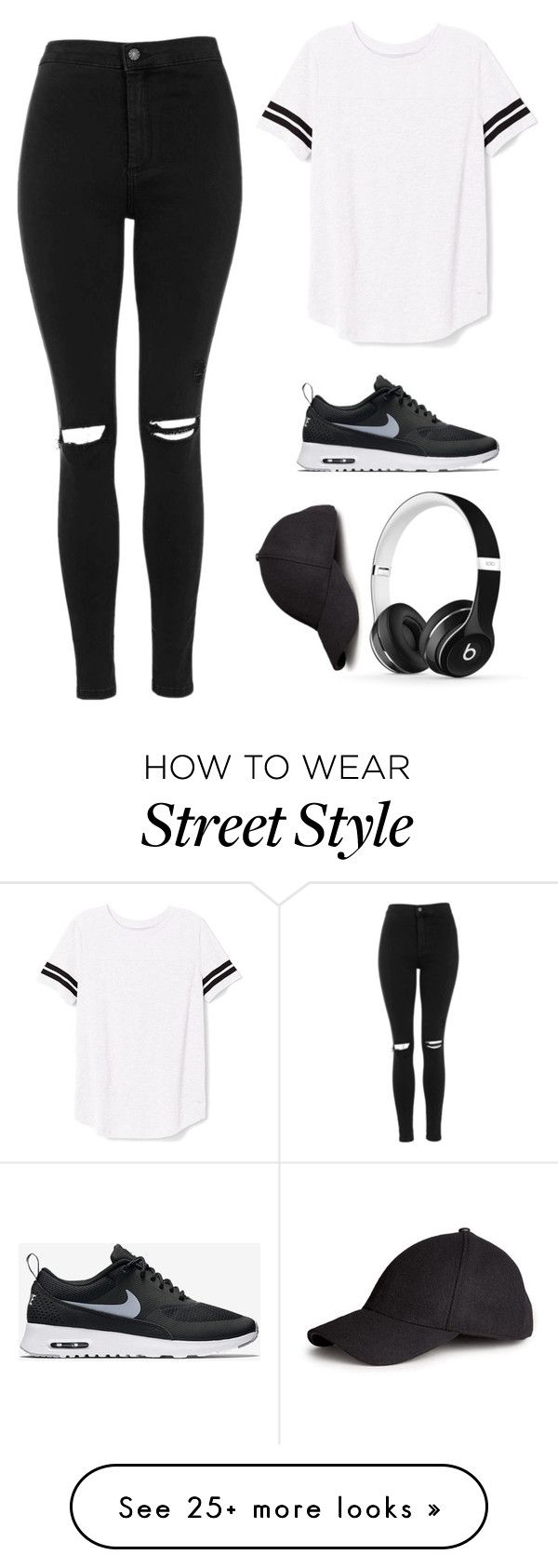 """Street style!"" by amanda2423 on Polyvore featuring Victoria's Secret PINK, Topshop, NIKE, Beats by Dr. Dre, H&M, black, cap, nike and headphones"