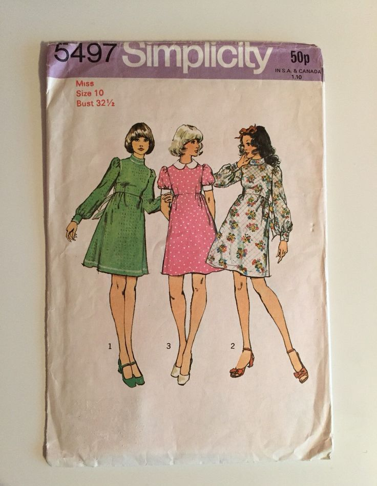 """Simplicity 5497 1970s Sewing Pattern / Mini Dress / Size 10 Bust 32 1/2"""" by stylesixties on Etsy https://www.etsy.com/listing/261397335/simplicity-5497-1970s-sewing-pattern"""