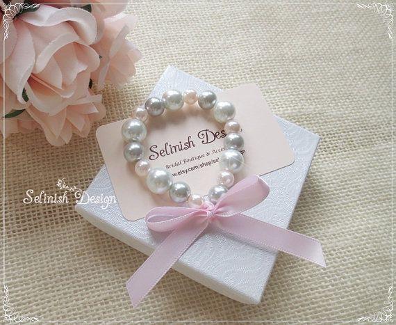 Flower Girl Bracelet, Pink and Grey Pearl Bracelet, Party Favor Bracelet, Flowergirl Gifts, Girl Bracelets, Flower Girl Gifts on Etsy, $10.08 AUD