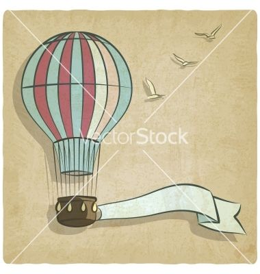 Retro background with aerostat vector - by natbasil on VectorStock®