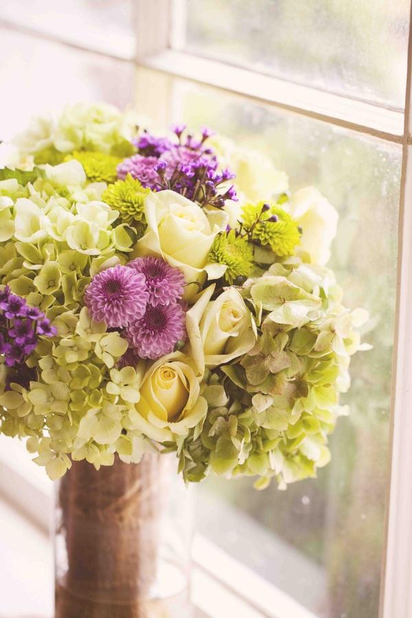 Purple dahlias, green hydrangeas, and roses | Photo by Nina Mullins #green #purple #wedding #bouquet
