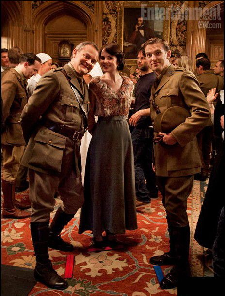 Hugh Bonneville, Michelle Dockery and Dan Stevens photographed by Robert Trachtenberg during the filming of season two of Downton Abbey