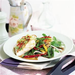 Ginger roast cod with sesame-dressed salad Recipe | delicious ...