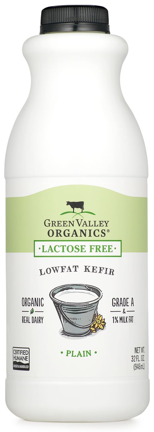 Green Valley Organics lactose-free organic kefir is free of any added sugars and includes billions of probiotics in every serving. Kosher and Certified Humane.