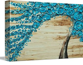 Impresión de Giclee de abrigo profundo LE lienzo Original Impasto pintura agua flor árbol Amber Elizabeth Lamoreaux turquesa marrón arte moderno