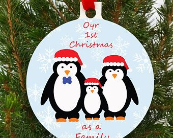 1st Christmas Tree Decoration, Ornament, Baulble, Penguin Decoration, UK