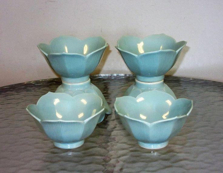 6 pastel blue Porcelain Ceramic Lotus Flower Rice Berry Dessert Small Bowls #Unbranded