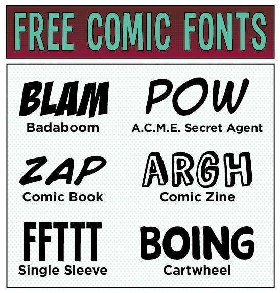 Free comic fonts ~~ {6 free fonts w/ links}