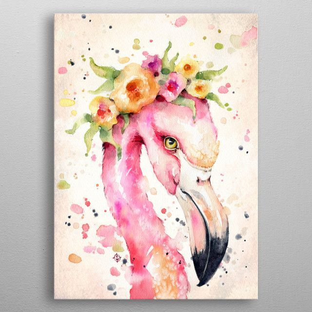 Little Flamingo Water Colour Animals Poster Print Metal