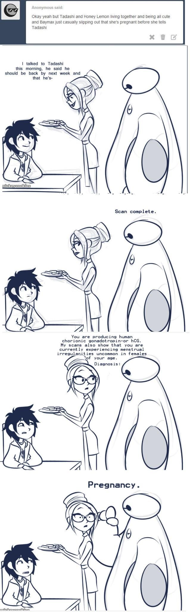 HIRO'S FACE THO. POOR THING. I love this because I always wanted Honey Lemon and Tadashi to get married!