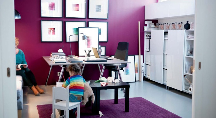 Love the rug colour!: Gifts Cards, Organizations Ideas, Purple, Kids Rooms Design, White Home, Colors Home, Workspaces, Home Offices Design, Ikea