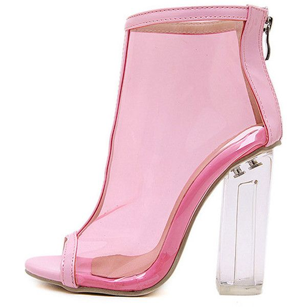 Pink Clear Peep Toe Lucited Chunky High Heel Ankle Booties ($45) ❤ liked on Polyvore featuring shoes, boots, ankle booties, heels, pink booties, pink flats, clear booties, peep-toe ankle booties and chunky-heel boots