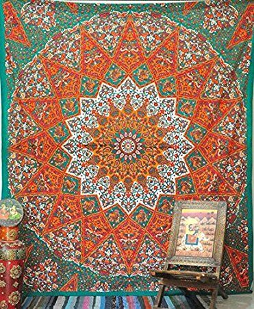 1 X Queen Indian Star Mandala Psychedelic Tapestry, Hippie Bohemian Wall Hanging Tapestries, Bedspread Bedding Bed Cover, Ethnic Home Decor