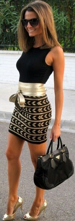 love the belted styles for a defined waistline! gold shoes & accessories = polished & glam!