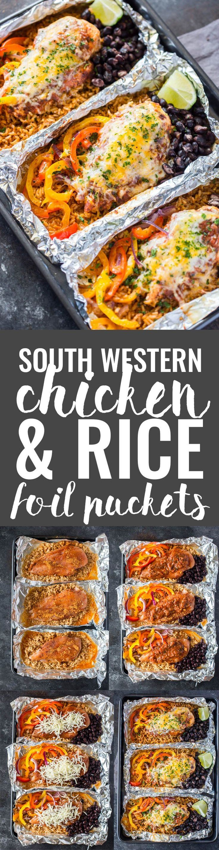 Southwestern Chicken & Rice Foil Packets #campingrecipes