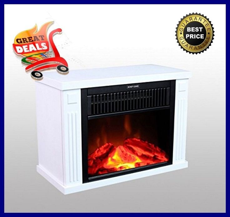 "Electric Fireplace Heater 14"" Portable Heater Log Fuel Effect 1000 Watt White #3GPlus"