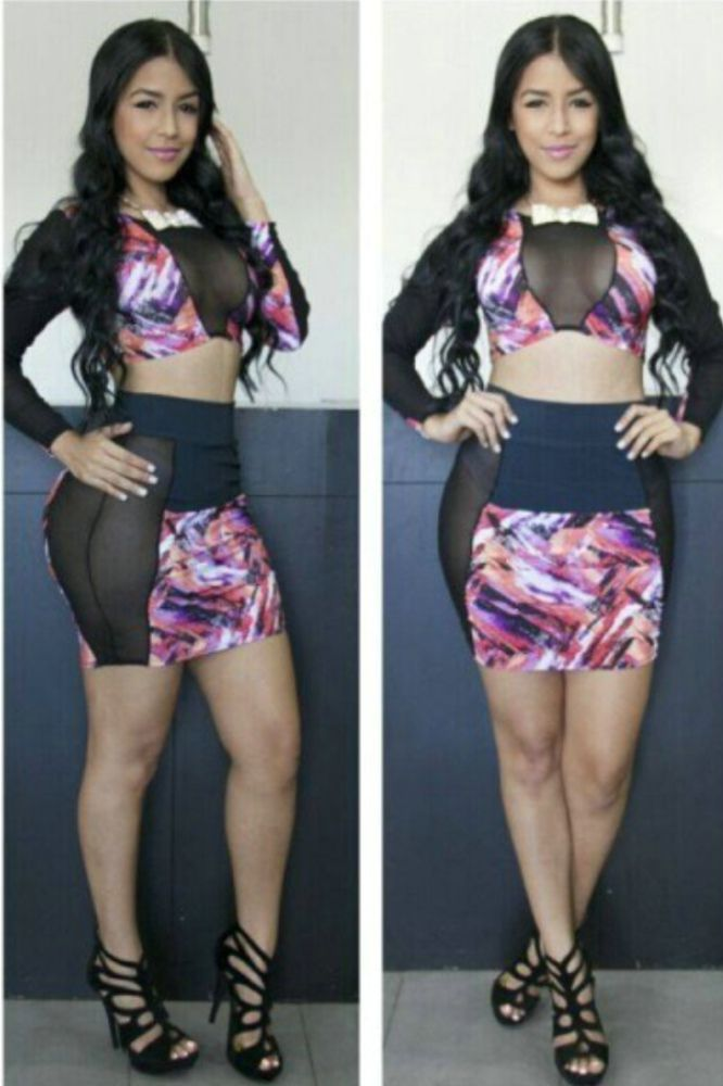 Rose Black Two Pieces Long Sleeves Bodycon Skirt Set