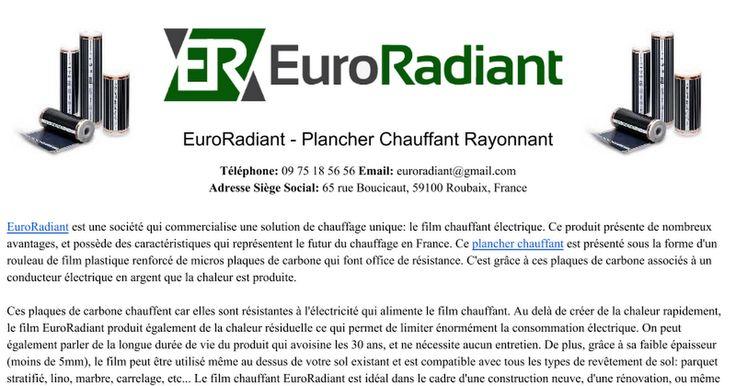 Présentation Plancher Chauffant EuroRadiant https://t.co/FDwPzm1IbU #euroradiant