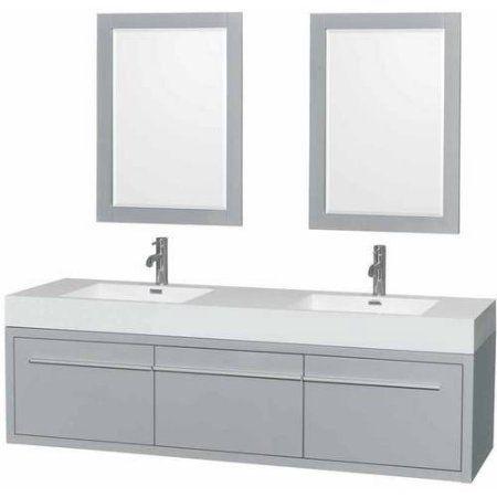 Wyndham Collection Axa 72 Inch Double Bathroom Vanity In Dove Gray, Acrylic  Resin Countertop,