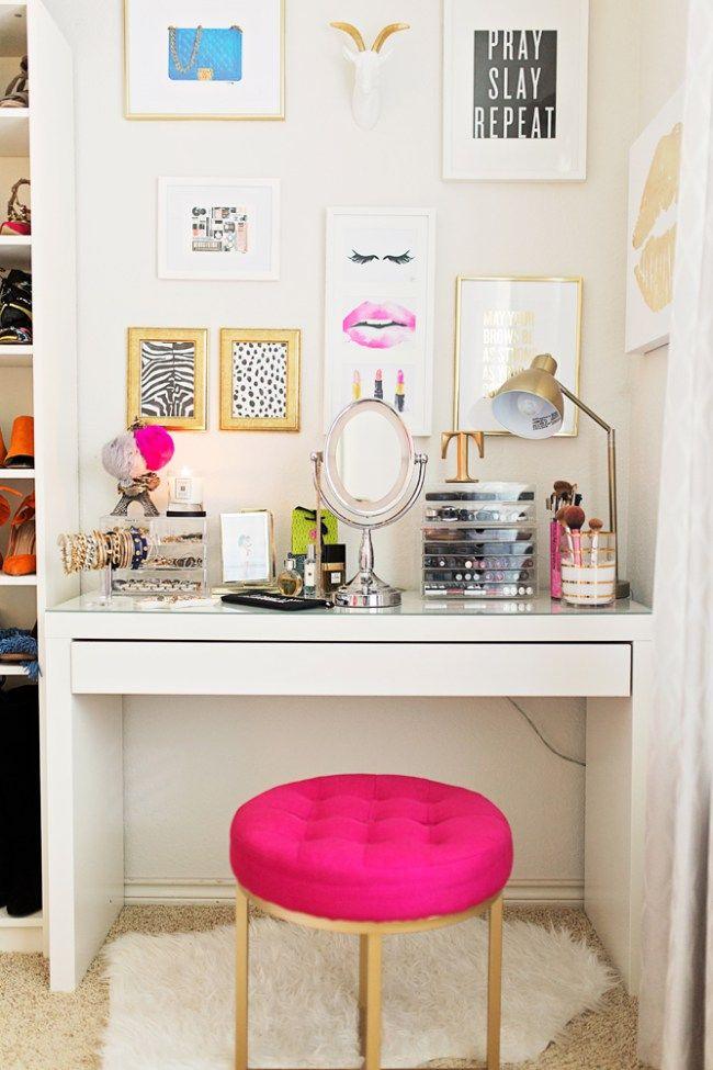 desk used as vanity. AFL SHOE CLOSET REVEAL  MY HAVEN Ikea DeskVanity 60 best makeup vanity images on Pinterest Bedroom