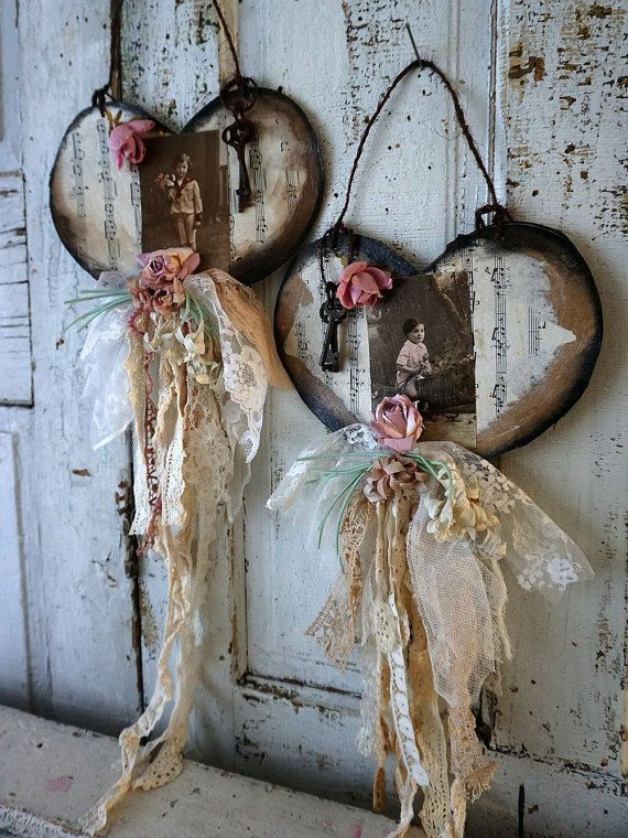Embellished paper heart wall hanging set antique French farmhouse postcard hearts tattered ribbon millinery flowers decor anita spero design   180