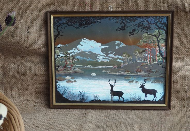 A lovely Vintage Hologram Picture Holograph Picture Retro  Boho Old Picture Vintage Frame Vintage Picture Deer Picture by Route46Vintage on Etsy