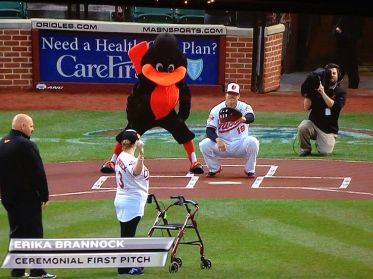 Way to go Erika!! Boston Marathon survivor first pitch to her favorite Oriole - Crush!!