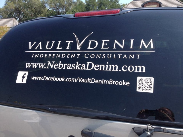 Vault denim window decal personalized w your info contact us for more info on sizing it to fit your vehicles window