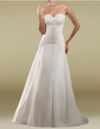 A-line Sweetheart Dropped Waist Court Train Chiffon Wedding Dress