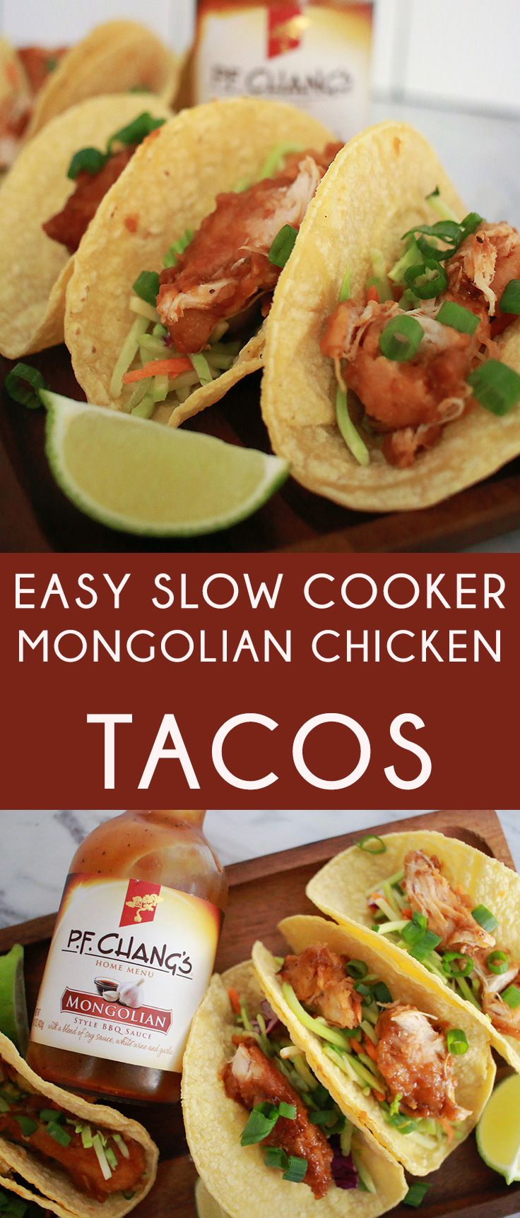 #ad The absolute easiest slow cooker mongolian chicken tacos! #authenticmadeeasy