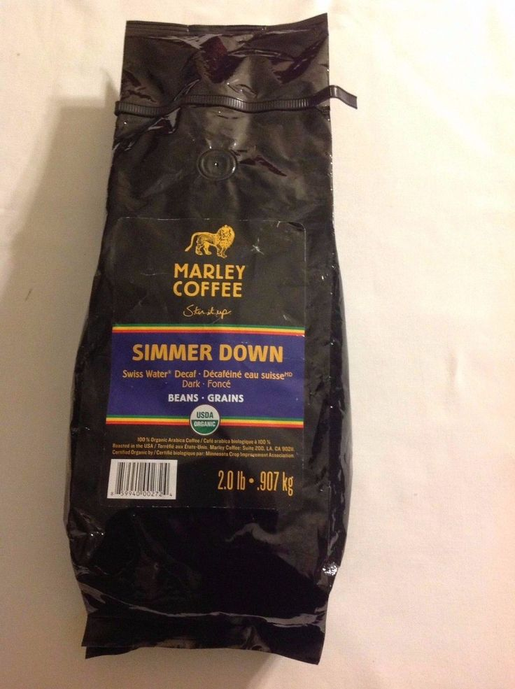 Marley Coffee Organic Dark Whole Bean Simmer Down Decaf 2 Lbs  Ins  Tracking #